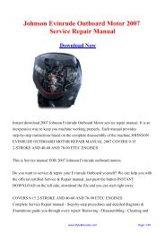 2007 Johnson Evinrude Outboard Motor Service Repair Manual