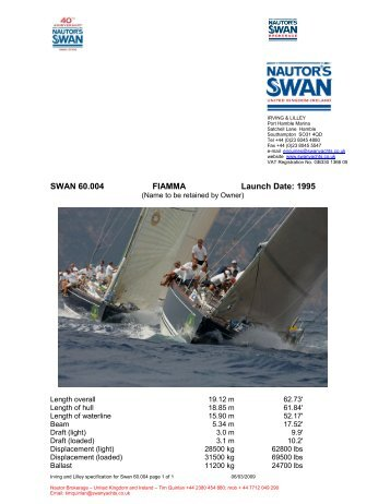 SWAN 60.004 FIAMMA Launch Date: 1995 - Nautor's Swan UK