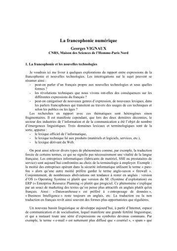 Francophonie Numérique - Plate-forme :: Arts, Sciences, Technologies