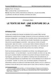 texte de rap : une ecriture - European MediaCulture-Online