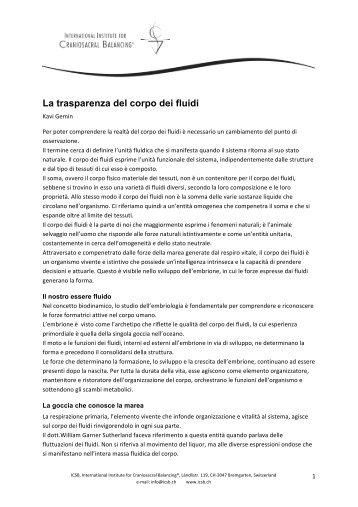 La trasparenza del corpo dei fluidi - International Institut for ...