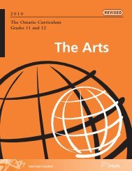 The Ontario Curriculum, Grades 11 and 12: The Arts, 2010