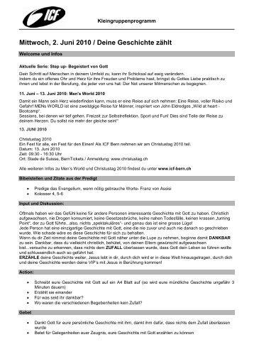 Mittwoch, 2. Juni 2010 / Deine Geschichte zählt - ICF Bern