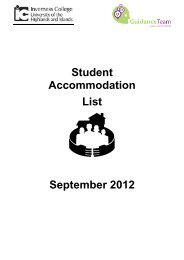 Accommodation list - Inverness College - UHI