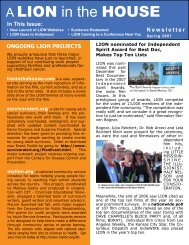 Newsletter Spring 2007 - A Lion in the House