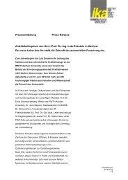Prof. Dr.-Ing. Lutz Eckstein - ika - RWTH Aachen University