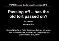 2012 IPSANZ Annual Conference Seminar ... - List G Barristers