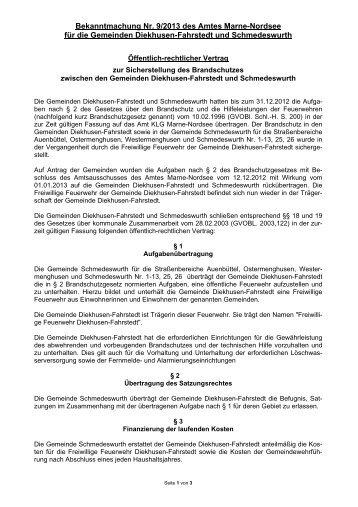 Öffentlich-rechtlicher Vertrag zur Sicherstellung des Brandschutzes ...