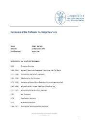 Curriculum Vitae Professor Dr. Holger Martens - Leopoldina