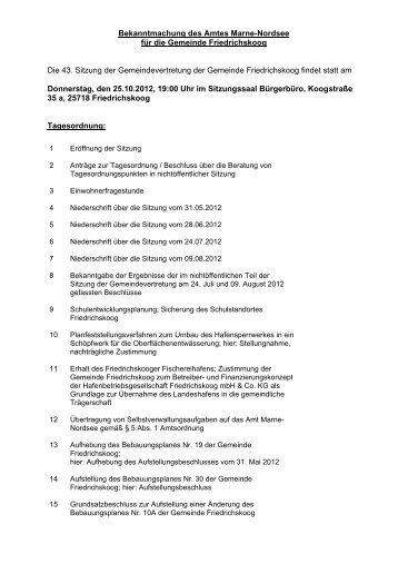 Sitzung der Gemeindevertretung der Gemeinde Friedrichskoog am ...