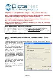 Vorgehen für das Update eines Dragon 8.1 Benutzers auf Dragon 9 ...