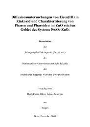 Diffusionsuntersuchungen von Eisen(III) in Zinkoxid - Universität Bonn