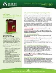 Dragon NaturallySpeaking Professional Datasheet - VocaLinks