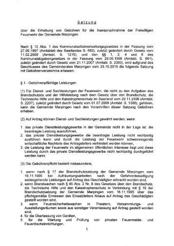 Satzung - Gemeinde Marpingen