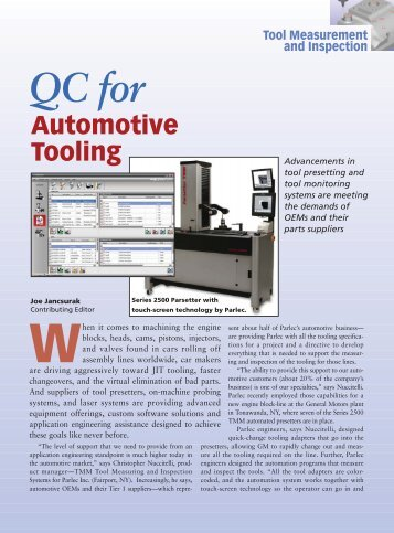 Automotive Tooling Tool Measurement and Inspection - Marposs