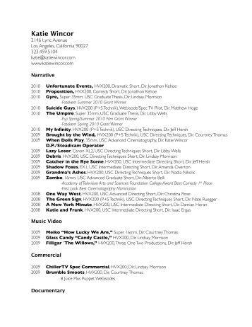 resume   devin doyle   cinematographerkw resume full  website    katie wincor   cinematographer