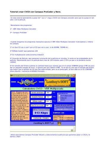 Tutorial crear CVCD con Canopus ProCoder y ... - Mundo Manuales