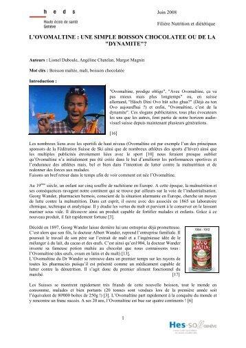 L'OVOMALTINE : UNE SIMPLE BOISSON CHOCOLATEE OU DE LA ...