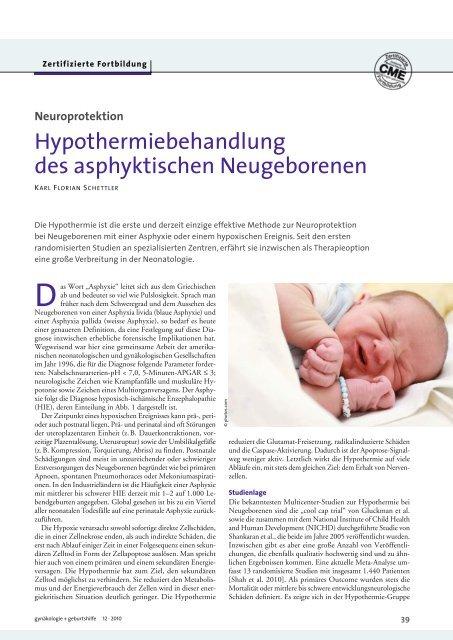 Hypothermiebehandlung des asphyktischen Neugeborenen