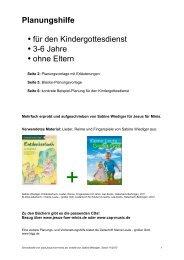 Planungshilfe für den Kindergottesdienst, 3-6 Jahre ... - Jesus für Minis