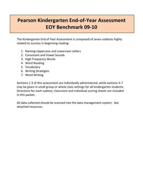 Pearson Kindergarten End-of-Year Assessment EOY Benchmark 09