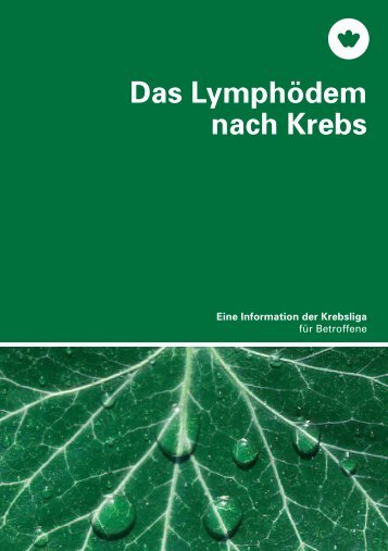 Das Lymphödem bei Krebs - Info der Krebsliga - Krebsliga Schweiz