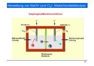 Herstellung von NaOH (und Cl ): Alkalichloridelektrolyse