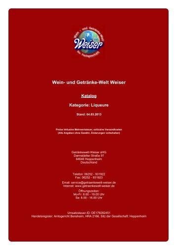 Katalog für Kategorie: Liqueure - und Getränke-Welt Weiser