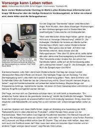 Vorsorge kann Leben retten ... - Martin Luther Krankenhaus Bochum