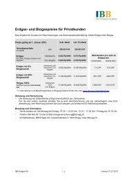 Erdgas- und Biogaspreise für Privatkunden