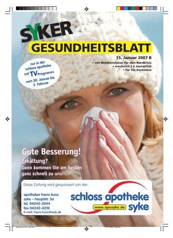 GESUNDHEITSBLATT - Schloss Apotheke Syke