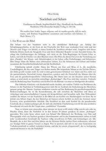 NACKTHEIT UND SCHAM - Dr. Oliver König