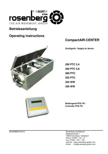 Betriebsanleitung Operating instructions CompactAIR-CENTER
