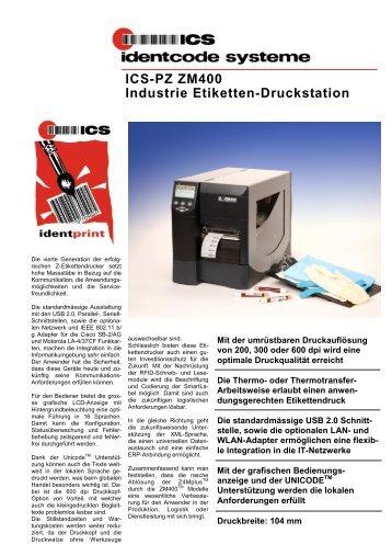 ICS-PZ ZM400 Industrie Etiketten-Druckstation - ICS Identcode ...