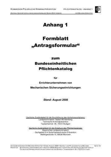 anhang 1 formblatt antragsformular polizei baden wrttemberg - Polizei Baden Wurttemberg Bewerbung