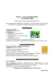 Kinder - und Jugendaktivitäten im Sommer 2008 - Marktgemeinde ...