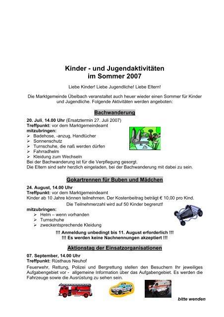 Kinder - und Jugendaktivitäten - Marktgemeinde Übelbach