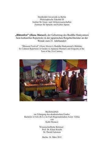 """""""Blütenfest"""" (Hana Matsuri), der Geburtstag des Buddha ..."""