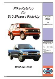 Pika-Katalog für S10 Blazer / Pick-Up 1982 bis 2001 - Pika Autoteile