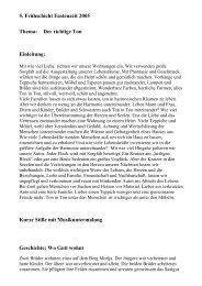 5. Frühschicht Fastenzeit 2005 Thema: Der richtige Ton Einleitung ...