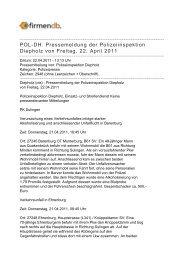 POL-DH: Pressemeldung der Polizeiinspektion Diepholz ... - Firmendb
