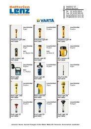 Varta Lichtkatalog - Batterien Lenz