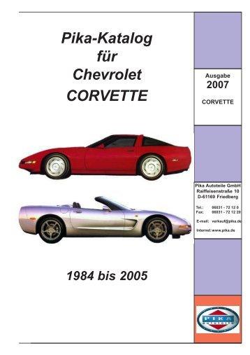 Pika-Katalog für Chevrolet CORVETTE - Pika Autoteile