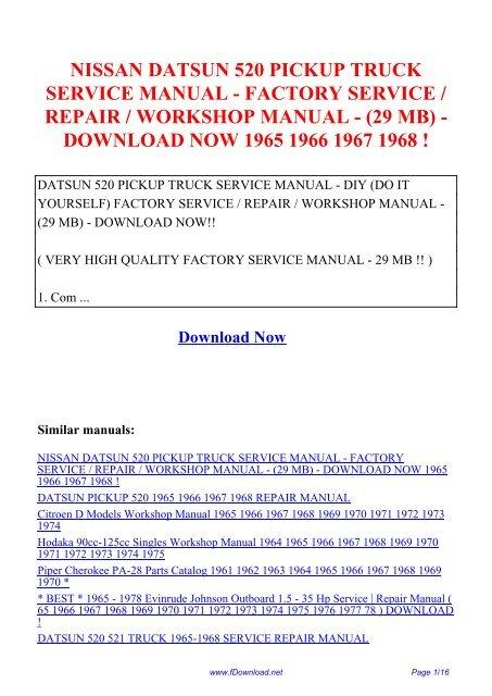 Nissan Datsun 520 Pickup Truck Service Manual