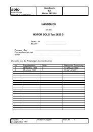 HANDBUCH MOTOR SOLO Typ 2625 01 - SOLO Kleinmotoren GmbH