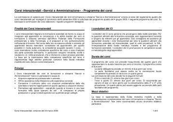 Corsi interaziendali «Servizi e Amministrazione» - Programma ... - igkg