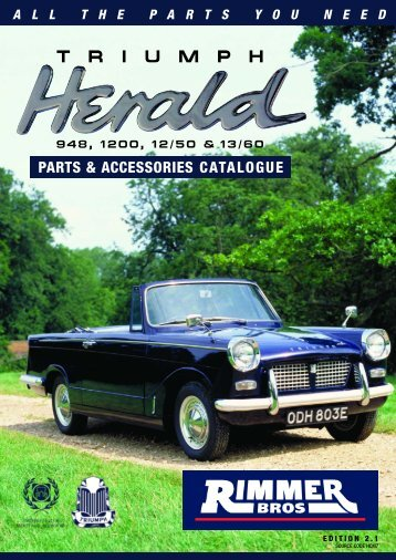 Triumph Herald Parts Catalogue - Rimmer Brothers