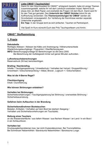 Vorbereitung/Stoffsammlung Theorie CMAS - Pritz Tauchsport
