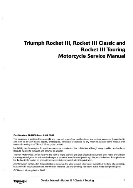 Triumph Rocket Ill Rocket Iii Classic And Rocket Iii Touring