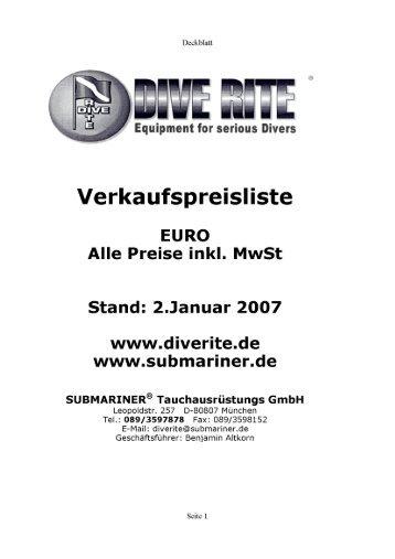 Verkaufspreisliste - Dive Rite Deutschland - Technisches Tauchen